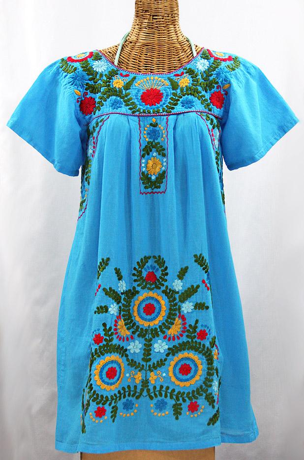 """""""La Talavera"""" Embroidered Mexican Dress - Aqua + Multi"""