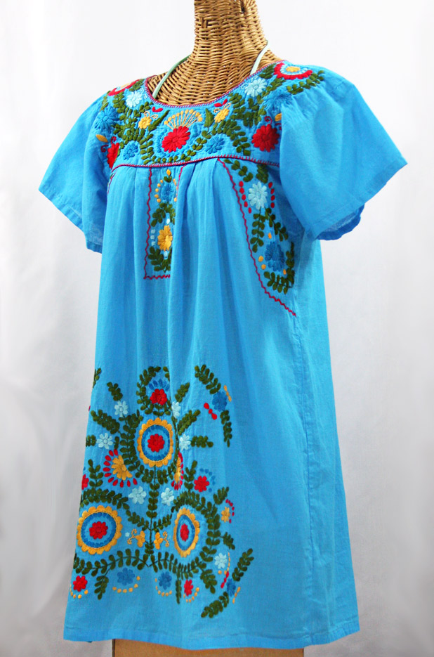 """La Talavera"" Embroidered Mexican Dress - Aqua + Multi"