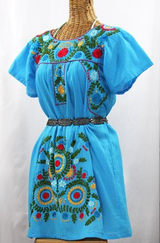 """Final Sale 50% Off -- """"La Talavera"""" Embroidered Mexican Dress - Aqua + Multi"""