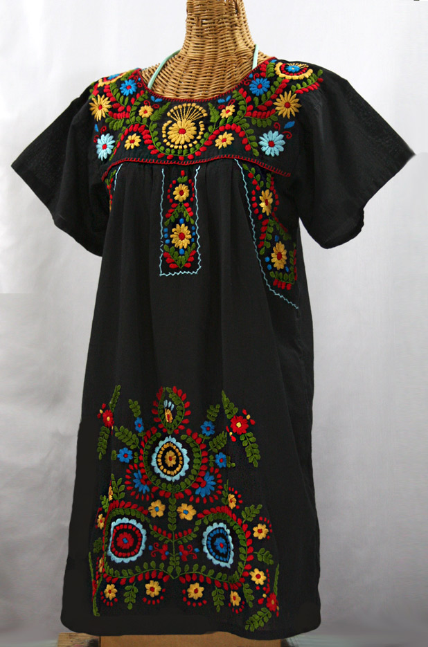 """La Talavera"" Embroidered Mexican Dress - Black + Multi"