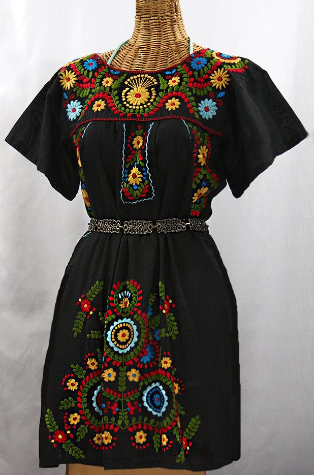 La Talavera Embroidered Mexican Dress Black Multi