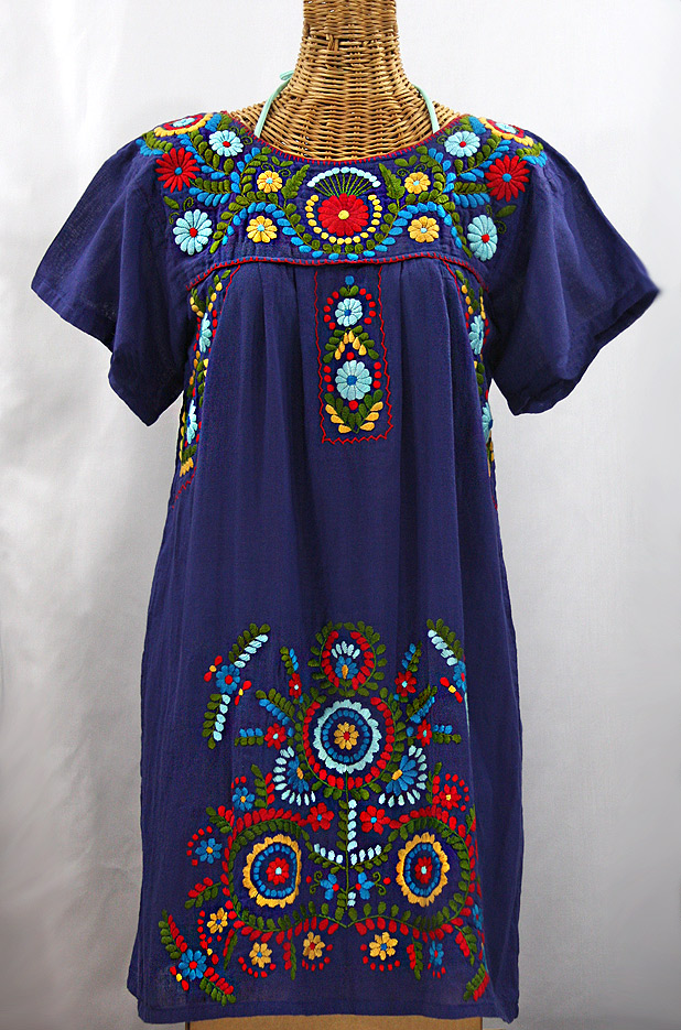 """La Talavera"" Embroidered Mexican Dress - Denim Blue + Multi"