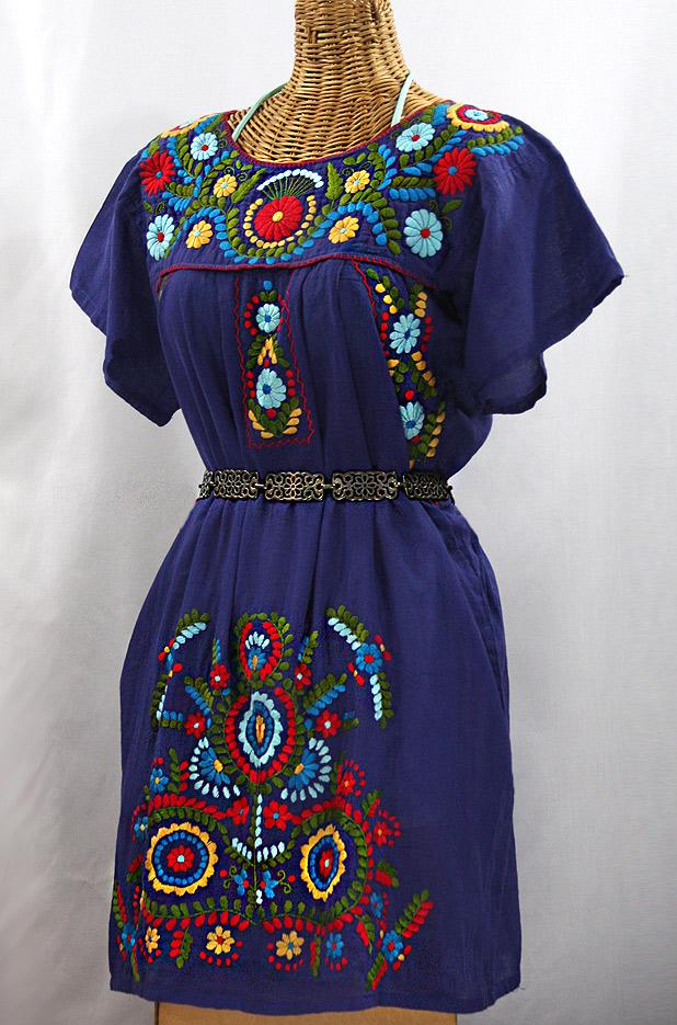 """Final Sale 50% Off -- """"La Talavera"""" Embroidered Mexican Dress - Denim Blue + Multi"""