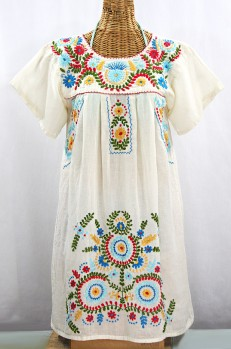 """La Talavera"" Embroidered Mexican Dress - Off White + Multi"