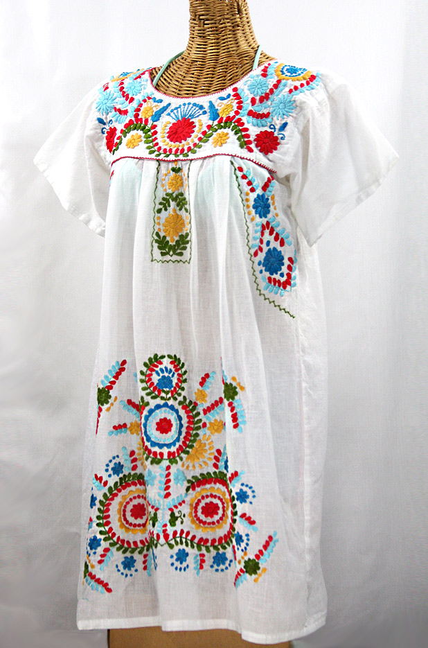 """La Talavera"" Embroidered Mexican Dress - White + Multi"