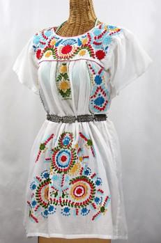 """Final Sale 50% Off -- """"La Talavera"""" Embroidered Mexican Dress - White + Multi"""