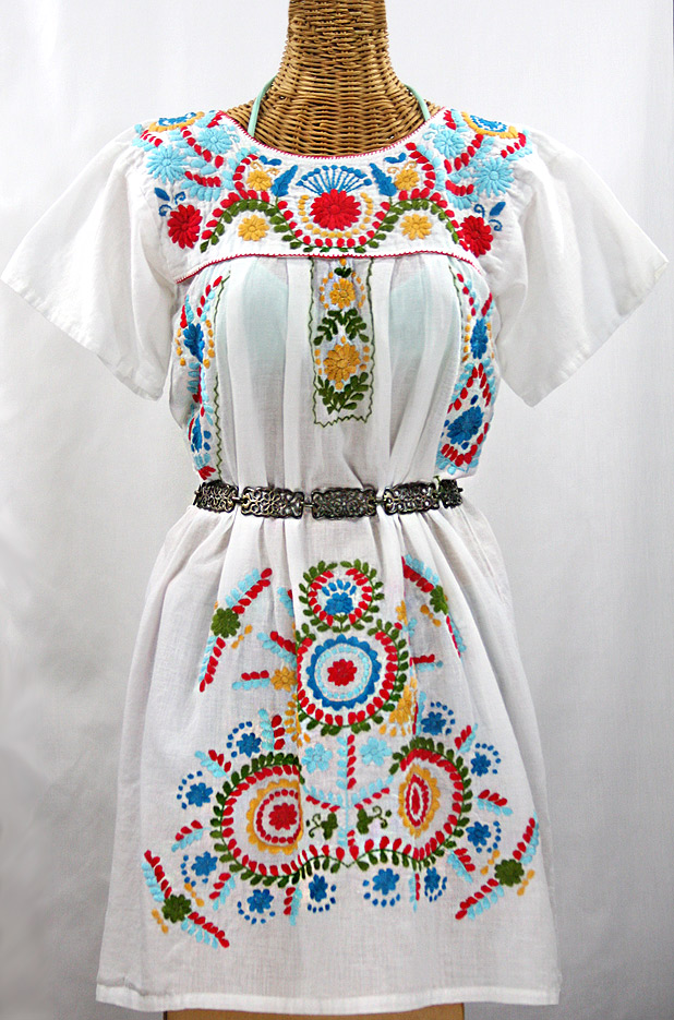 "Final Sale 50% Off -- ""La Talavera"" Embroidered Mexican Dress - White + Multi"