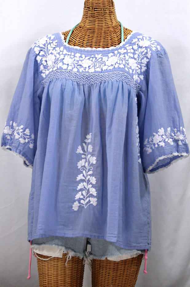 """La Marina"" Mexican Peasant Blouse -Periwinkle + White"