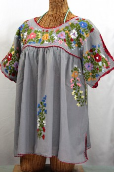 """Lijera Libre"" Plus Size Embroidered Peasant Top -Grey + Red Trim"
