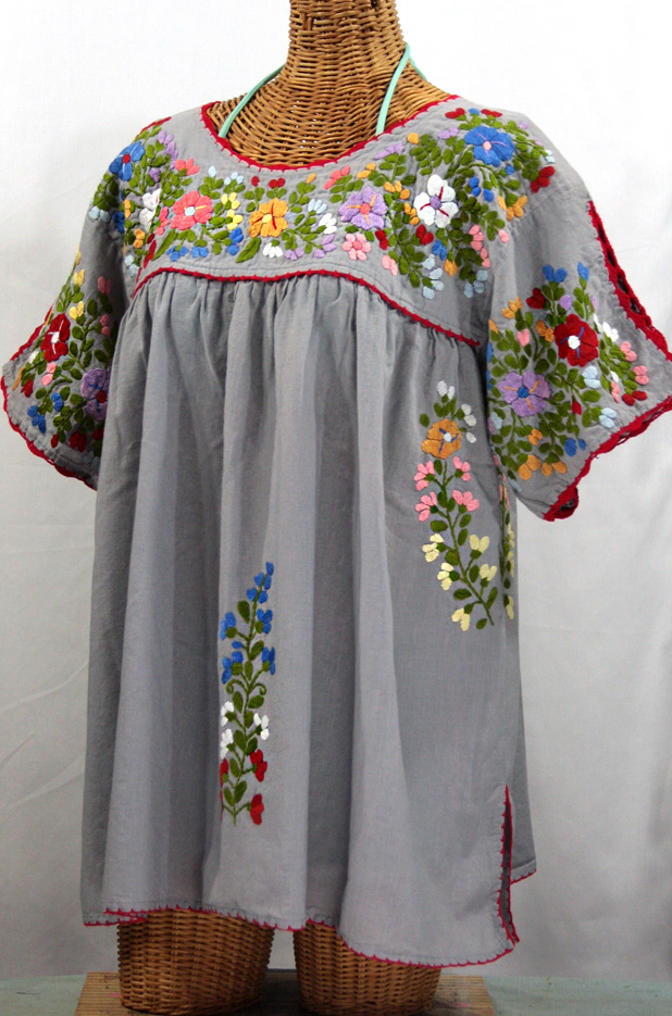 "lijera libre"" plus size embroidered peasant top -grey + red"