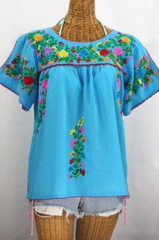 """La Lijera"" Embroidered Peasant Blouse Mexican Style -Aqua + Rainbow"