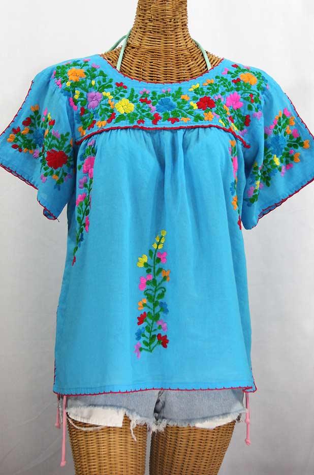 """La Lijera"" Embroidered Peasant Blouse Mexican Style -Aqua + Rainbow"