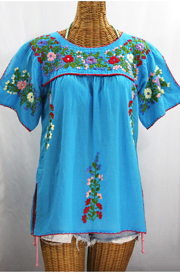 """La Lijera"" Embroidered Mexican Peasant Top Blouse -Aqua"