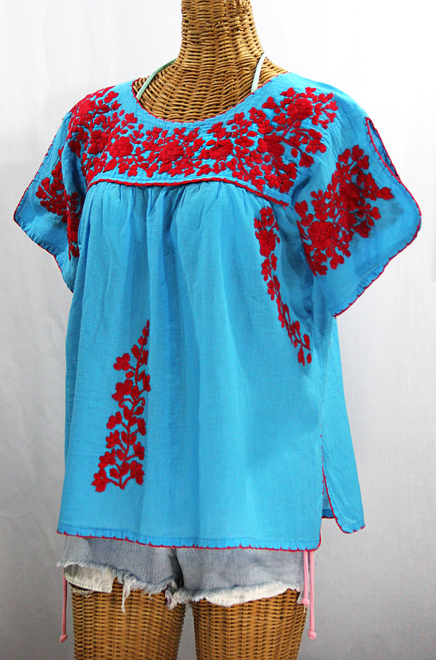 """Lijera"" Embroidered Mexican Style Peasant Top Blouse -Aqua + Red"