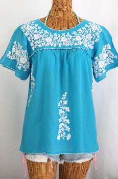 """""""La Lijera"""" Embroidered Peasant Blouse Mexican Style -Aqua + White"""