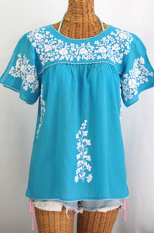"""La Lijera"" Embroidered Peasant Blouse Mexican Style -Aqua + White"