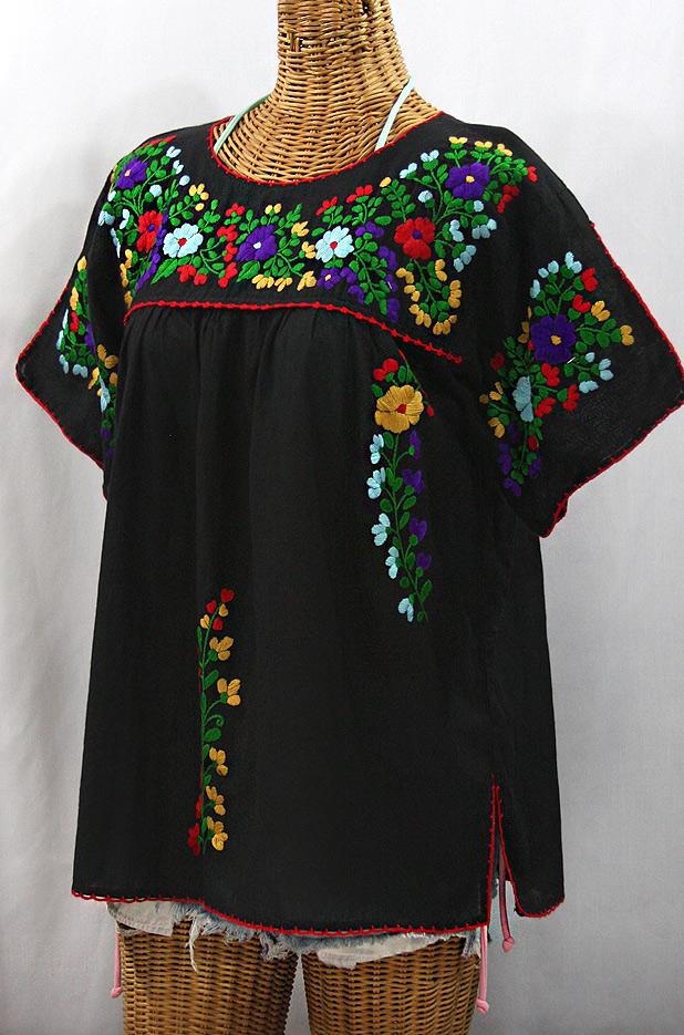 """""""La Lijera"""" Embroidered Peasant Blouse Mexican Style -Black + Bright Multi"""