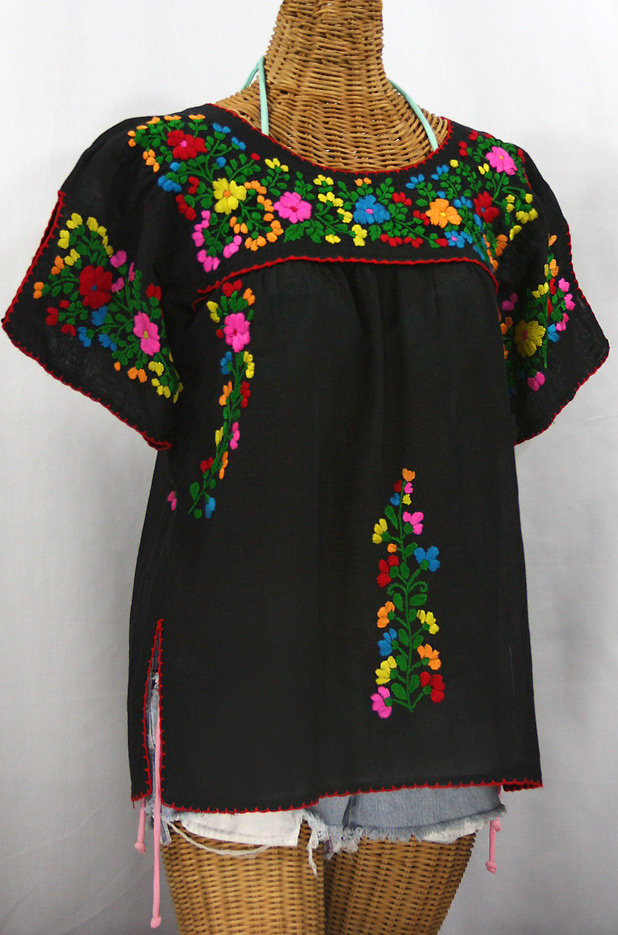 """La Lijera"" Embroidered Peasant Blouse Mexican Style -Black + Rainbow"