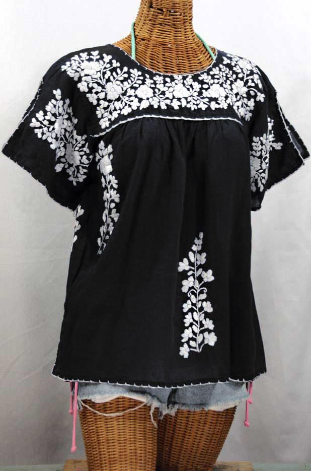 """""""La Lijera"""" Embroidered Peasant Blouse Mexican Style -Black + White"""