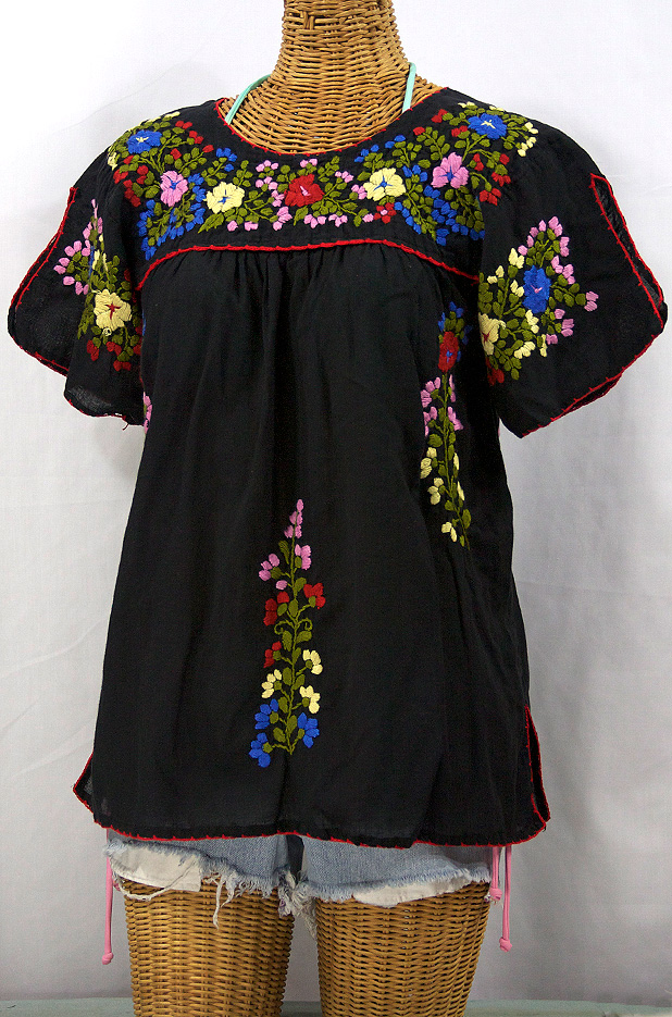 """La Lijera"" Embroidered Peasant Blouse Mexican Style -Black"