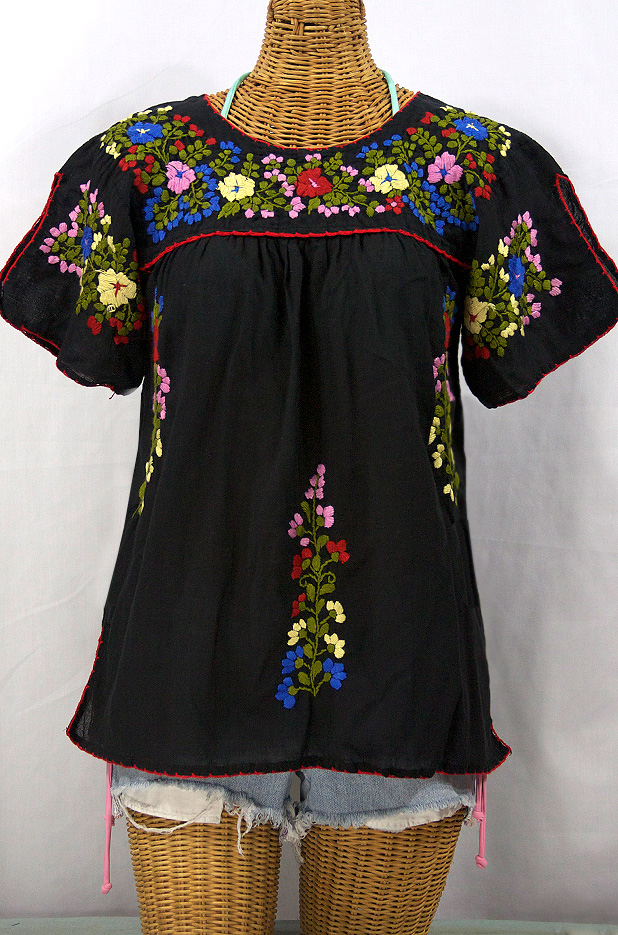 """La Lijera"" Embroidered Peasant Blouse Mexican Style -Black"