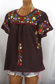 """""""La Lijera"""" Embroidered Peasant Blouse Mexican Style -Chocolate Brown + Multi Embroidery"""