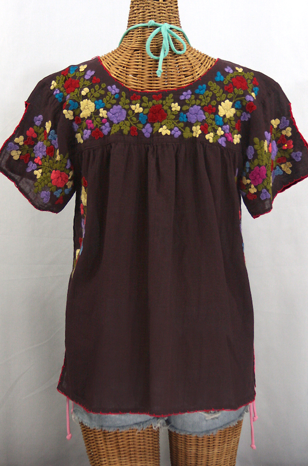 """La Lijera"" Embroidered Peasant Blouse Mexican Style -Chocolate Brown + Multi Embroidery"