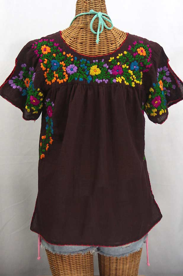"""""""La Lijera"""" Embroidered Peasant Blouse Mexican Style -Chocolate Brown + Rainbow"""