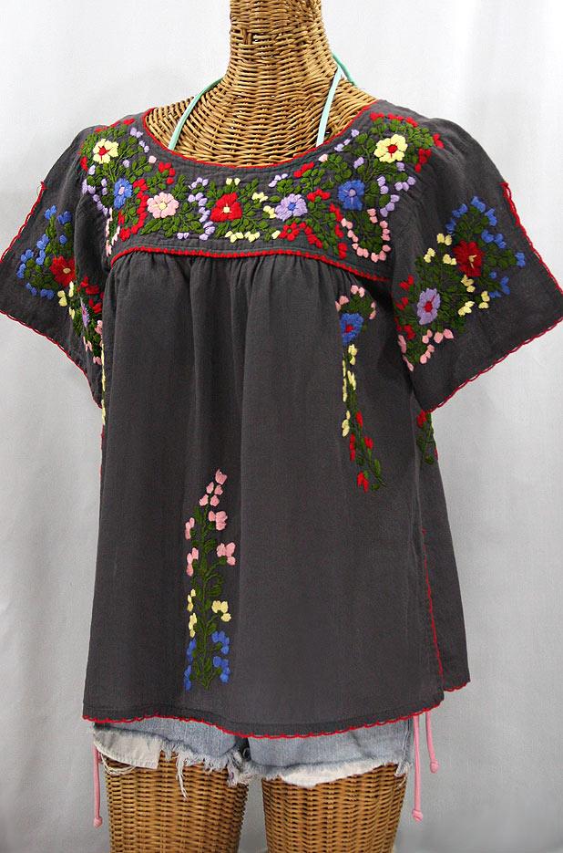 """La Lijera"" Embroidered Peasant Blouse Mexican Style - Charcoal + Multi"