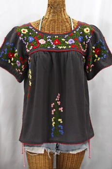 """La Lijera"" Embroidered Peasant Blouse Mexican Style - Charcoal + Multi"