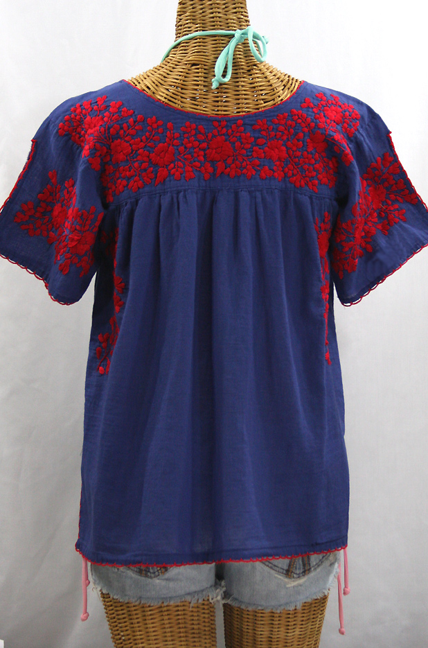 """La Lijera"" Embroidered Peasant Blouse Mexican Style -Denim Blue + Red Embroidery"