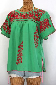 """""""La Lijera"""" Embroidered Peasant Blouse Mexican Style -Green + Red"""