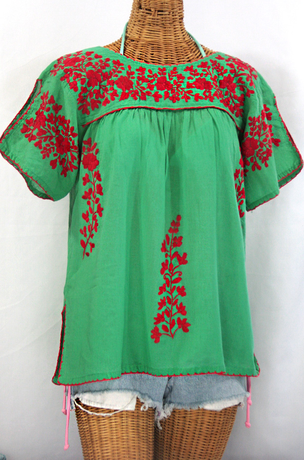 """La Lijera"" Embroidered Peasant Blouse Mexican Style -Green + Red"