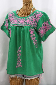 """""""La Lijera"""" Embroidered Peasant Blouse Mexican Style - Green + Pink"""