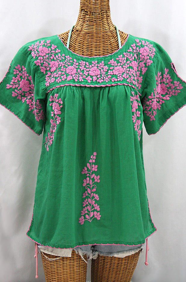 """La Lijera"" Embroidered Peasant Blouse Mexican Style - Green + Pink"