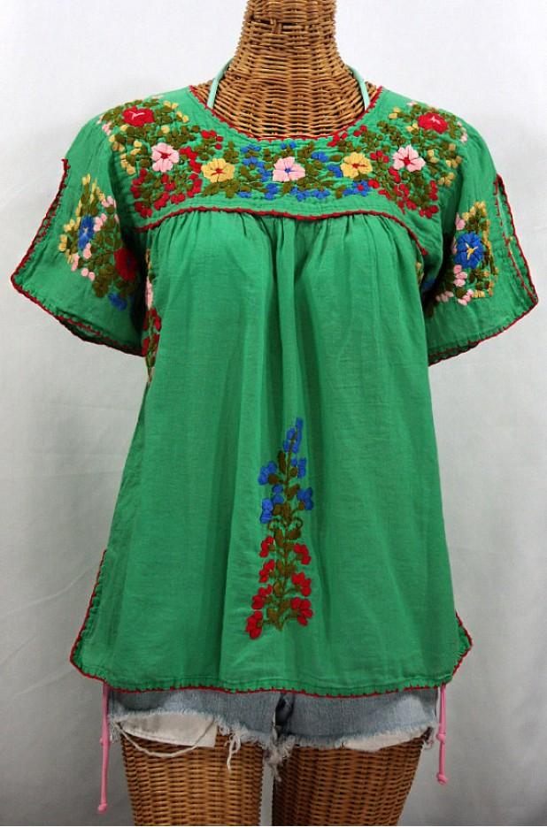 """La Lijera"" Embroidered Mexican Peasant Top Blouse -Green"