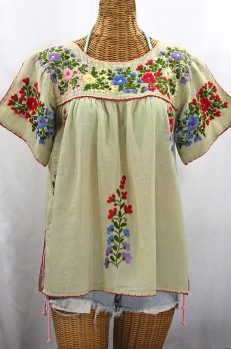 "Final Sale 40% Off -- ""La Lijera"" Embroidered Peasant Blouse Mexican Style - Pale Sage + Multi"