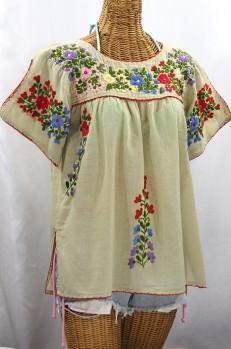"Final Sale 40% Off -- ""La Lijera"" Embroidered Peasant Blouse Mexican Style - Pale Sage + Multi"