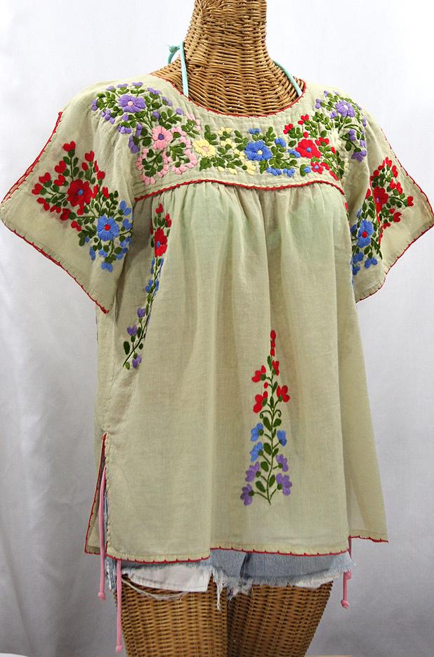 """La Lijera"" Embroidered Peasant Blouse Mexican Style - Pale Sage + Multi"