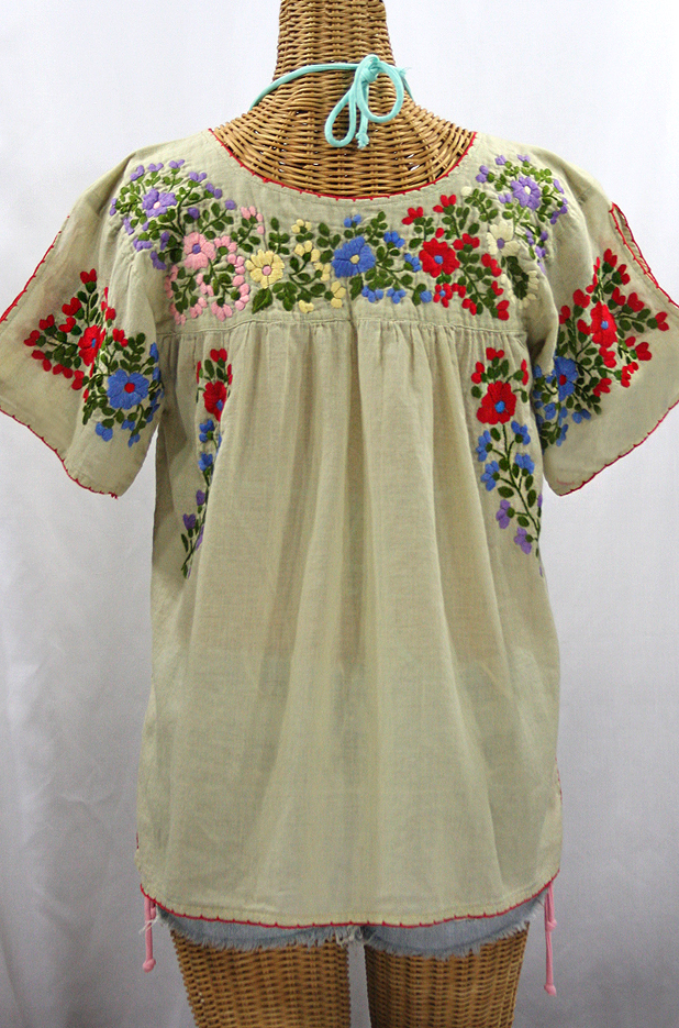 """La Lijera"" Embroidered Peasant Blouse Mexican Style - Pale Sage + Multi"