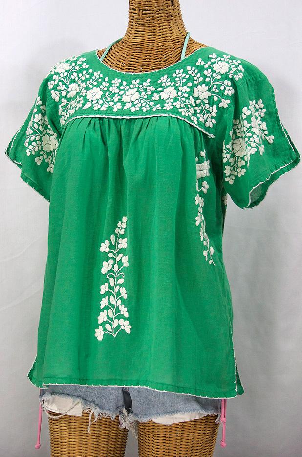 """La Lijera"" Embroidered Peasant Blouse Mexican Style -Green + White"
