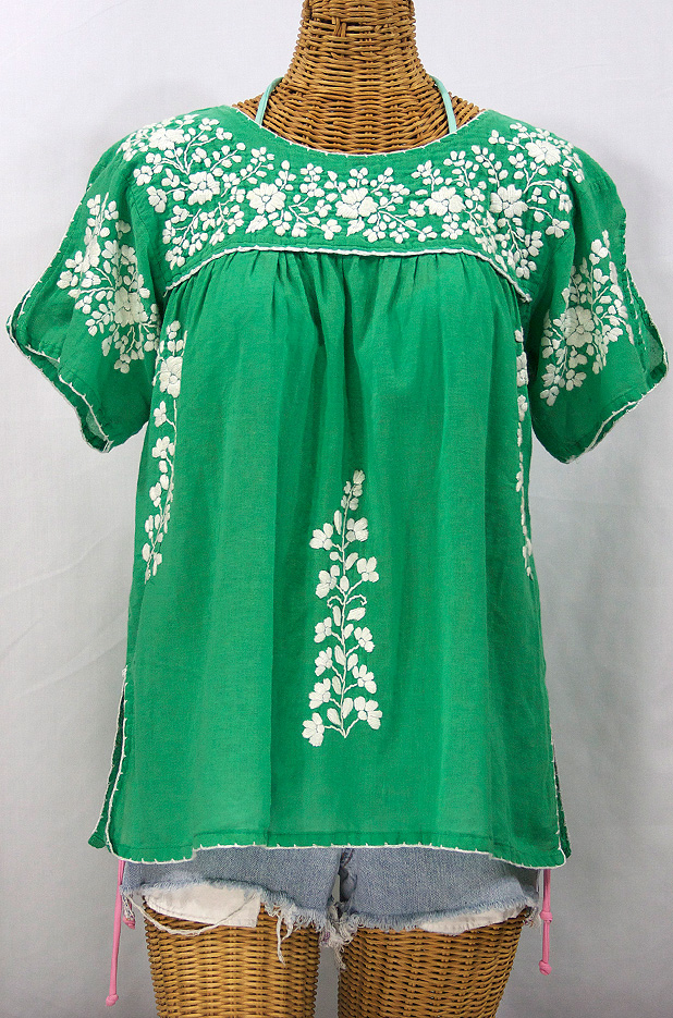 """La Lijera"" Embroidered Peasant Blouse Mexican Style -Green + White"