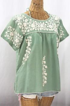 """""""La Lijera"""" Embroidered Peasant Blouse Mexican Style - Sage + Cream"""