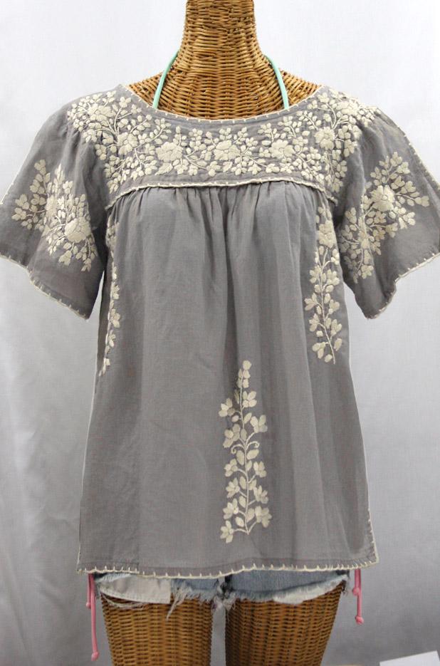 """""""La Lijera"""" Embroidered Peasant Blouse Mexican Style - Grey + Cream"""