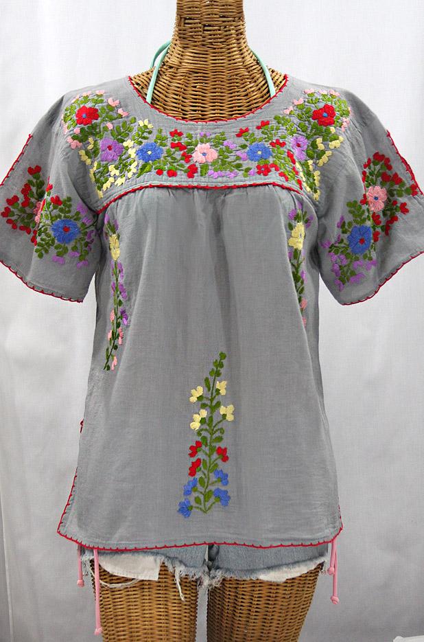 """""""La Lijera"""" Embroidered Peasant Blouse Mexican Style - Grey + Multi"""