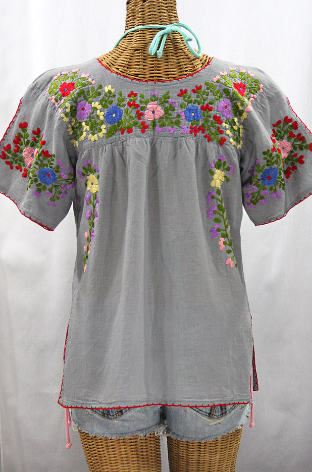 """La Lijera"" Embroidered Peasant Blouse Mexican Style - Grey + Multi"