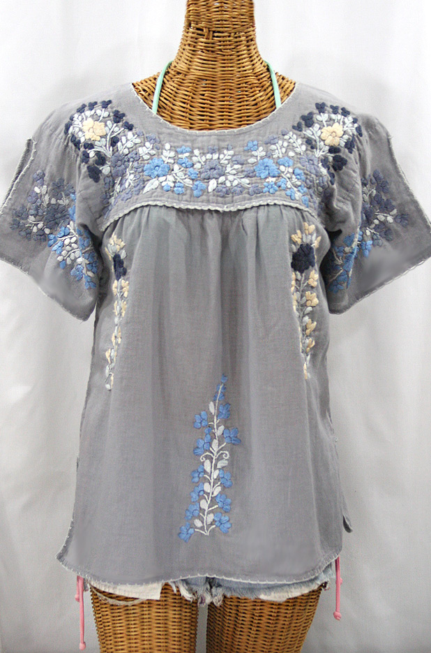 """La Lijera"" Embroidered Peasant Blouse Mexican Style -Shades of Grey"
