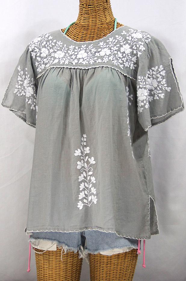 """La Lijera"" Embroidered Peasant Blouse Mexican Style -Grey + White"