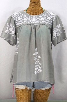 """La Lijera"" Embroidered Peasant Blouse Mexican Style -Grey + White"