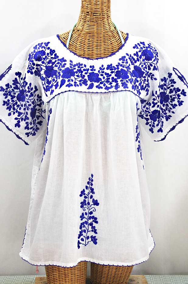 """Lijera Libre"" Plus Size Embroidered Mexican Blouse - White + Blue"